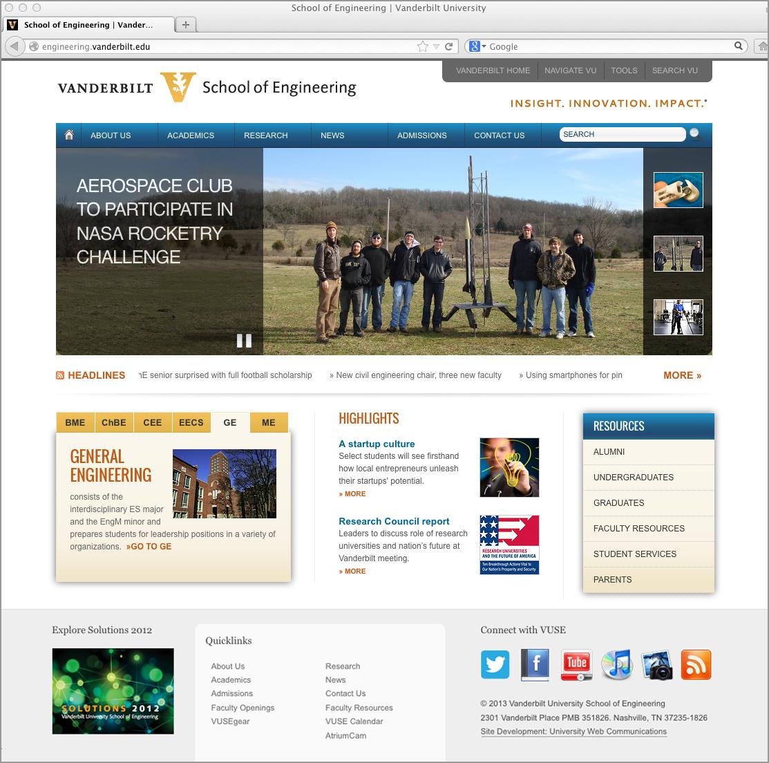 Vanderbilt School of Engineering site design