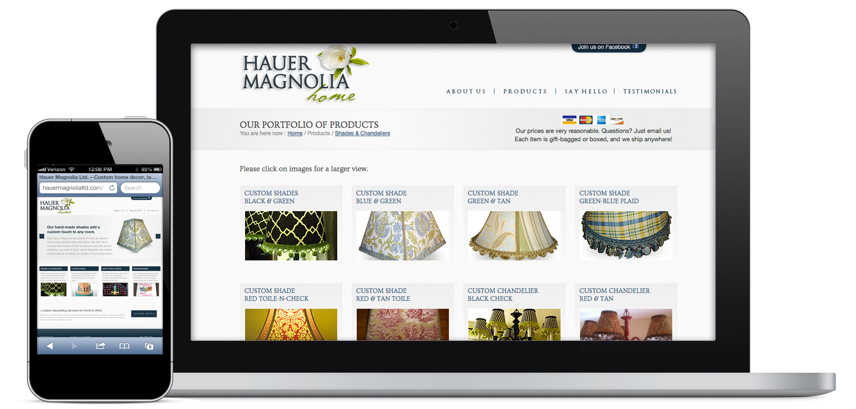 responsive web site for home goods retailer