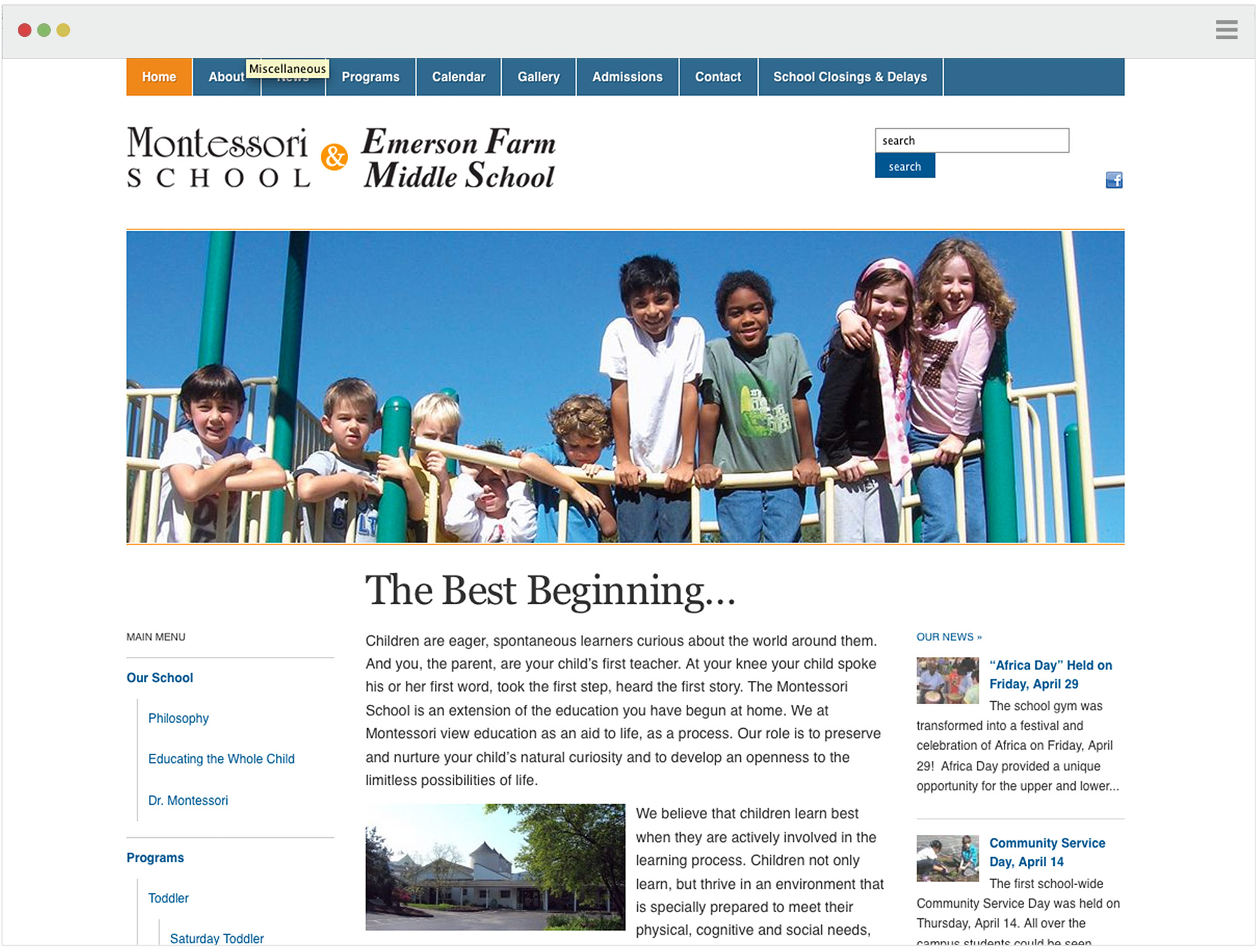 Montessori School Web site