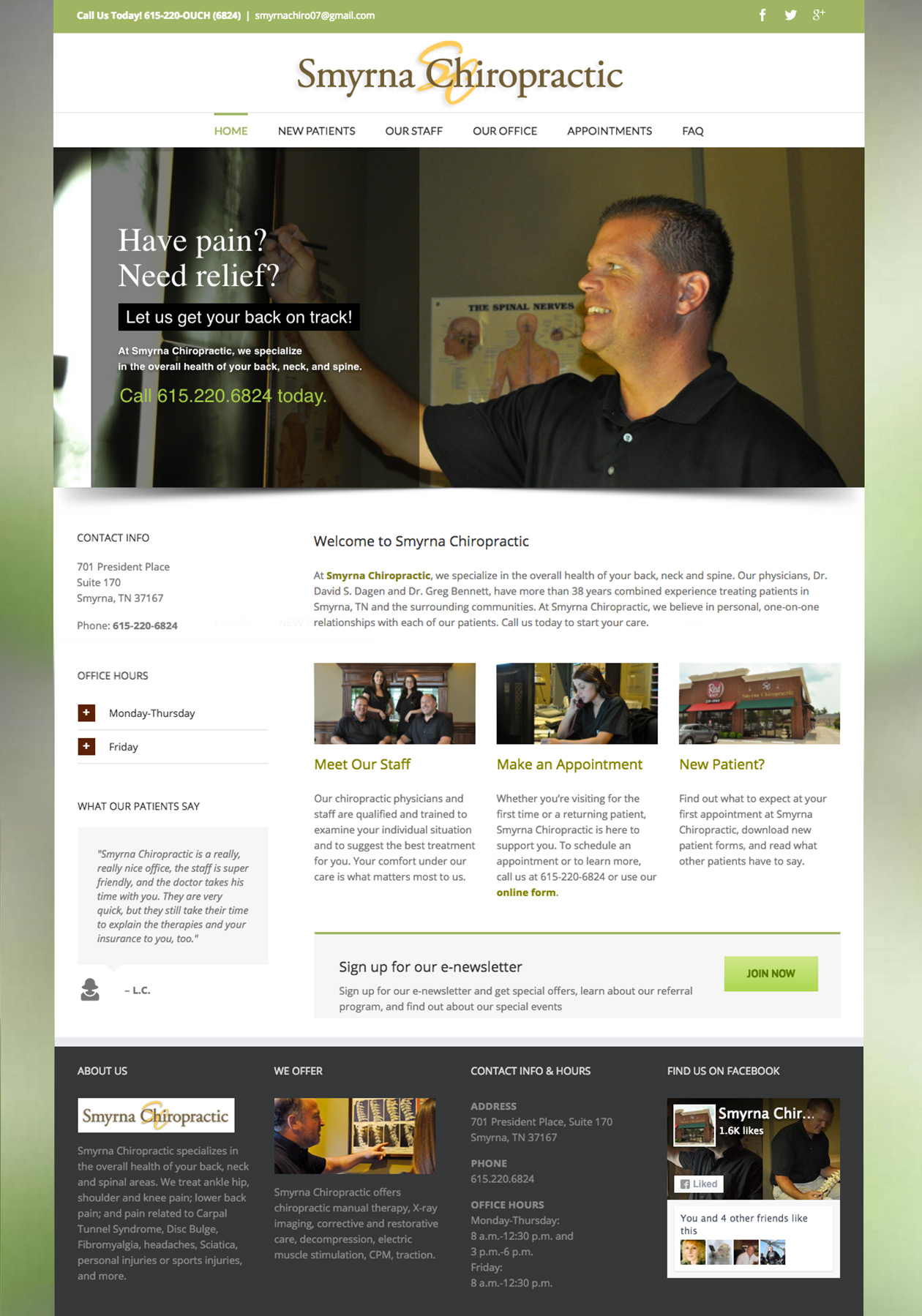 web site development, web site design, Smyrna Chiropractor