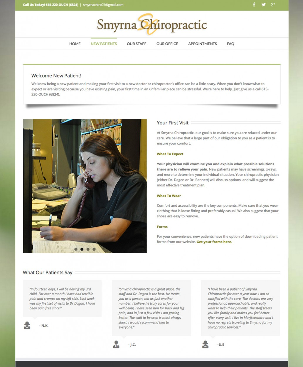 chiropractic web site, graphic design